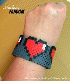 Zelda Hearts Bracelet Cuff Perler Beads by MadamFandom on Etsy http://www.facebook.com/MadamFandom