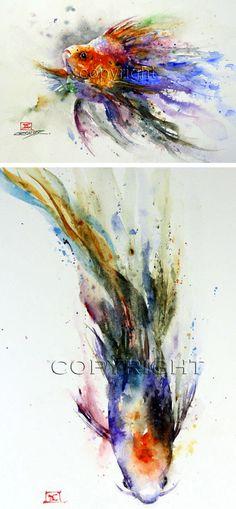Dean Crouser, art, painting, watercolor, animals, wildlife, fish