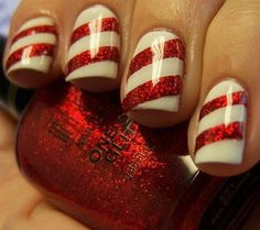 Candy Cane Nails You will need white nail polish and red nail polish with glitter. First paint your nails white- 2 coats and let dry. When nails are dry, paint diagonal stripes (about 2 on each nail) with red glitter nail polish across Nails Polish, Red Nails, Hair And Nails, Sparkly Nails, Pink Nail, Red Manicure, Pastel Nails, Fancy Nails, Nail Nail