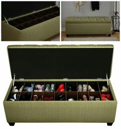 HIDDEN SHOE STORAGE BENCH...this is such a great idea & it comes in different colors! Helps keep shoes in one place & out of view!!   Find it here (aff)---> http://amzn.to/2iy3wjR .