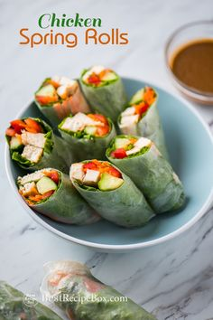 Easy spring rolls recipe with chicken and peanut dip recipe. Skip the rice paper, just wrap with lettuce.
