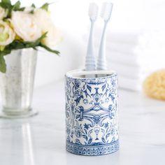 Birch Lane Porcelain Toothbrush Holder, Blue & White | Birch Lane