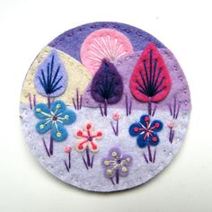 TREESCAPE felt brooch pin with freeform embroidery - scandinavian style