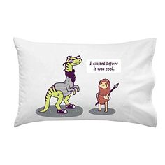 'Hipster Dino' Dinosaur 'I Existed Before It Was Cool' Talking to Caveman - Pillow Case Single Pillowcase