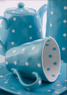 Blue and white polka dot tea set