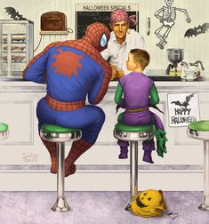 Spiderman inspired - Norman Rockwell's classic illustration 'The Runaway' 'Rockwell Spider-Man', and it was created by Deviant Art user lukeradl