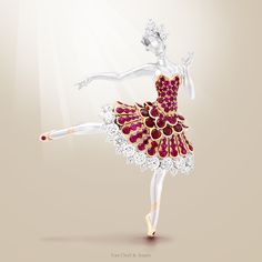 "Van Cleef & Arpels Ballerina Clip -white gold, round diamonds, one rose-cut diamond, pink gold, round rubies- unveiled at Masterpiece London Fair. Find out more about the ""Dance inspiration"" by Van Cleef & Arpel."