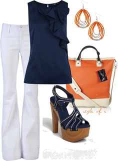 Navy and Orange, created by styleofe on Polyvore