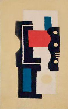 French Art Deco: Tapis jaune numéro 9. Tapis en laine au point noué à la main. Fernand LÉGER (1881-1955).