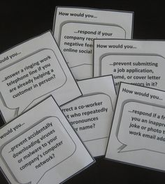 """Business communication """"How Would You…?"""" card set challenges students with real-world employment situations. Students interactively apply written, verbal, electronic, and nonverbal communication skills to workplace scenarios. Use as a group activity, mock workplace practice, daily warm-up, or writing prompt for business, communication, CTE, work skills, and life skills classes."""