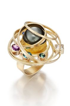 Isabelle Posillico - Contemporary Jewelry - Black Pearl Satellite Ring