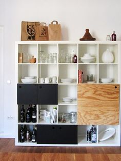Gorgeous kitchen storage in hacked Expedit from Ikea (and 8 more ingenious Expedit hacks on iVillage.com)