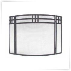 Minuteman Intl. 3 Panel Mission Fireplace Screen - Black