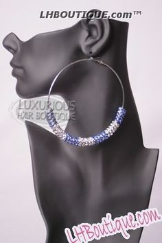 Luxe Beauty Supply - Basket Ball Wives - Rhodium Studded Hoops Blue Clear  (http://www.lhboutique.com/basket-ball-wives-rhodium-studded-hoops-blue-clear/) #FashionJewelry, #LuxeBeautySupply, #FashionAccessories