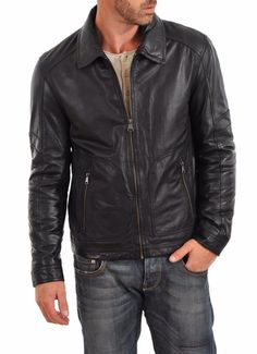 Men's Leather Jacket Handmade Black Motorcycle Solid Lambskin Leather Coat - M56 #Handmade #BasicCoat