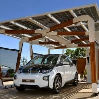 Electric cars. BMW i presents its solar pergola parking