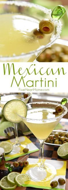 Mexican Martini ~ like a margarita on the rocks with a splash of olive juice, this Mexican Martini is a copycat recipe of the famous cocktail from Trudy's in Austin {wine glass writer} Mexican Martini Recipe, Martini Recipes, Margarita Recipes, Cocktail Recipes, Tequila Soda, Vodka, Dinner Recipes, Famous Cocktails, Gastronomia
