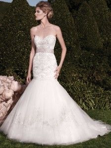 Come in and see at Celebrations of the Heart! This is such a gorgeous mermaid wedding dress with beautiful beading! #mermaid #weddingdresses http://www.shopcelebrationsoftheheart.com/