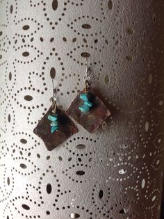 Reclaimed copper pipe and turquoise earrings