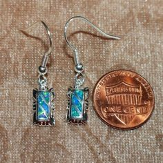 blue fire opal earrings gemstone silver jewelry petite cocktail design B001