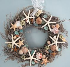 Beach Decor Nautical Seashell Wreath w by beachgrasscottage, $70.00
