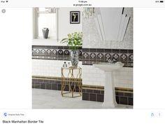 Style Tiles, Art Deco Bathroom, Bathrooms, Vanity, Dressing Tables, Powder Room, Bathroom, Makeup Dresser, Bath