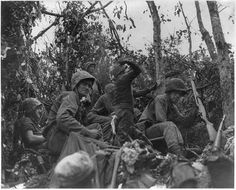 """Robert Britt Peleliu World War II (WW II) from albany ny / The Marine sitting on the far left is Pfc. Robert """" Shadow"""" Britt of Albany St. in North Albany..he was killed in action on the island of Peleliu in September 1944. He was awarded the Silver Star for gallantry"""