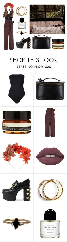 """wood"" by sarahloup ❤ liked on Polyvore featuring ONIA, Louis Vuitton, Aesop, Marni, Lizzie Fortunato, Lime Crime, Gucci, LUMO and Byredo"
