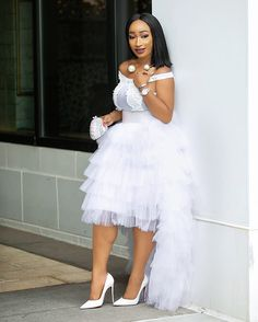 White swan vibes 😍😍😍 Gala Tutu Skirt and White pearl bodysuit. African Wear Dresses, Latest African Fashion Dresses, African Print Fashion, African Wedding Attire, African Attire, African Lace Styles, Lace Dress Styles, Dress Outfits, Prom Dresses
