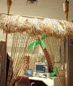 Tiki cubicle - too much? ;) #office #decor