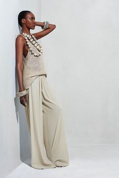 LOVE this cowl neck cami knit top, wide leg silk pants, and long multi-strand wooden pearl necklace from Urban Zen.