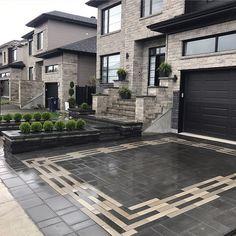 Having a tough time deciding on concrete pavers vs asphalt for your driveway or outdoor living project? Driveway Design, Patio Design, Garden Design, Dream Home Design, Modern House Design, Paver Designs, Concrete Steps, Stained Concrete Driveway, Dream House Exterior