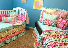 Custom Bedding Sisterly Love by LikeMyMotherDoes on Etsy Ruffle Blanket, Ruffle Duvet, Ruffle Curtains, Ruffles, Girls Bedding Sets, Girls Bedroom, Bedroom Ideas, Bedrooms, Little Girl Rooms
