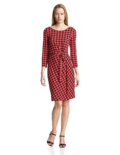 Anne Klein Women's Houndstooth Print Wrap Dress, Black/Red Multi, Small Anne Klein  for Graduation!