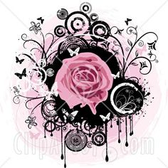 27864-Clipart-Illustration-Of-A-Blooming-Pink-Rose-Over-A-Black-Circle-With-Dripping-Paint-Black-And-White-Flowers-Circles-And-Butterflies-O...