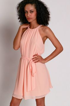 Pretty In Pleat Halter Dress Peach