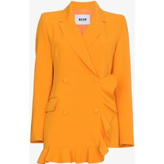 Msgm Orange Double Breasted Ruffle Blazer (14.745 ARS) ❤ liked on Polyvore featuring outerwear, jackets, blazers, double-breasted blazer, msgm, orange blazer jacket, flounce jacket and ruffle jacket