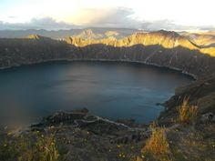 Quilotoa, Ecuador has got to be one of the most beautiful places on Earth. When this volcano collapsed, it eventually left an 800-foot crater lake. Quilotoa is located at almost 13,000 feet, so it's extremely cold, but the trip is well worth it. - 2012