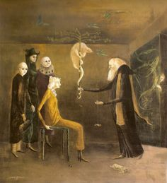 "Leonora Carrington      ""Syssigy"" by Leonora Carrington, 1957. Oil on board, 56 x 50.2 cm."