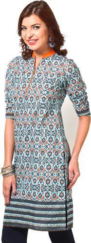 Printed Aqua Blue Cotton Kurta - Vishudh Kurtas & kurtis for women | buy women kurtas and kurtis online in indium