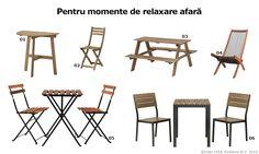 01. ASKHOLMEN, Masă balcon, www.IKEA.ro/masa_ASKHOLMEN 02. ASKHOLMEN, Scaun pliant, www.IKEA.ro/scaun_ASKHOLMEN 03. RESÖ, Masă picnic copii, www.IKEA.ro/masa_picnic_RESO 04. BROMMÖ, Şezlong, www.IKEA.ro/sezlong_BROMMO 05. FALSTER, Masă+2scaune, www.IKEA.ro/masa_scaune_FALSTER 06. TÄRNÖ, Masă+2scaune,  www.IKEA.ro/masa_scaune_TARNO
