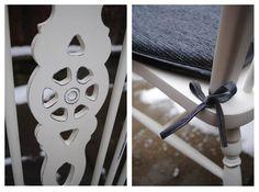 detale z bliska krzesło shabby chic i poduszka na krzesło