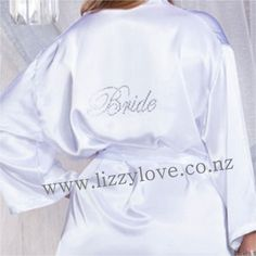 Gorgeous satin robes with gorgeous rhinestone personalisation across the back of the robe. Wording available: - Bride - Bridesmaid - Maid Of Honour - Mother of the Bride - Junior Bridesmaid - Flower girl party gifts party robes gifts Bridesmaid Robes, Bridesmaid Flowers, Gifts For Wedding Party, Party Gifts, Flower Girl Robes, Personalised Gifts, Maid Of Honor, Mother Of The Bride, Rhinestones