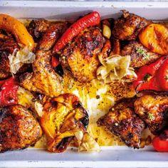 Butterflied Chicken, Tandoori Chicken, Zaatar Recipe, Garlic Head, Roast Chicken Recipes, Roasted Peppers, Cooking Instructions, Stuffed Sweet Peppers, Chicken Thighs