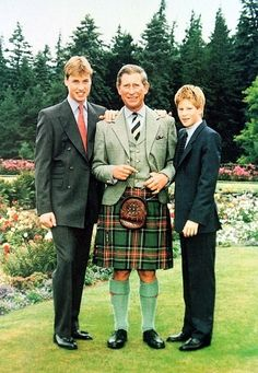 HRH Prince Harry with his brother HRH Prince William and his father HRH Charles Prince of Wales.