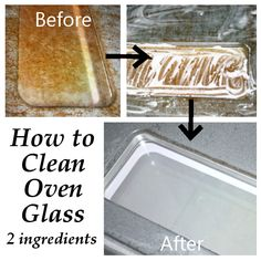 How to clean oven glass! Just baking soda and water, make it into a paste, spread it on and wait 15 minutes. Voila!