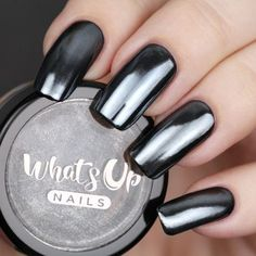 Get the dark mirror look with Whats Up Nails Black Chrome Powder. Black chrome nails make such a statement for dark nails. Black Chrome Nails, Chrome Nail Art, Gel Chrome Nails, Chrome Nail Colors, Chrome Nails Designs, Gold Chrome, Cute Nails, Pretty Nails, My Nails