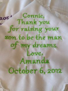 Gift to the Mother of the Groom from the Bride by Aprettystitch, $18.00