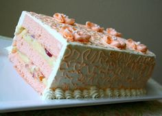 Bellini Cake from http://smalltowncookie.blogspot.com  Layers of Champagne cake filled with pastry cream and fresh peach slices.