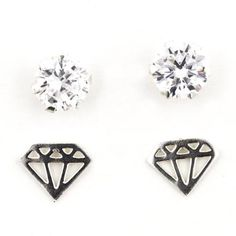 decbec5df Hotsilver - Sterling Silver 2 Pack Cubic Zirconia and Diamond Shaped Post  Earrings - Walmart.com